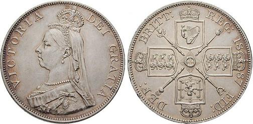 Double Florin 1887, Kursmünze, Silber 925 fein, 22,62 g, Ø 36 mm