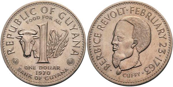 1 Dollar 1970, FAO / Berbice Revolte (1763) Aufstandsführer Cuffy, Kupfernickel, 19,08 g, Ø 35,56 mm