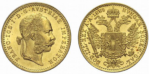 Kaiserreich Österreich, Kaiser Franz-Joseph, reg. 1848–1916, Dukat (Gold), Wien 1889