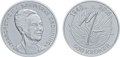 500 Kronen 2015, 75. Geburtstag von Königin Margrethe II., Silber 999er, 31,1 g, Ø 38 mm