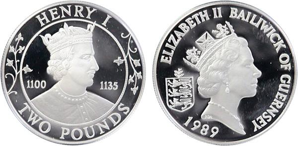 2 Pounds 1989, Normannische Herrscher – Henry I., Silber 925er, 28,28 g, Ø 38,61 mm