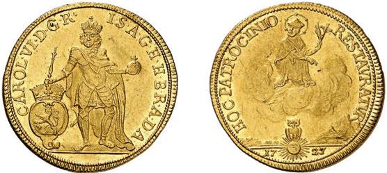 Nr. 6279: HAUS HABSBURG. Leopold I. (1657–1705). 2 Dukaten 1727, Prag. Ausbeute der Gruben in Eule (Böhmen). Äußerst selten. Vorzüglich.  Taxe: 25 000,– Euro