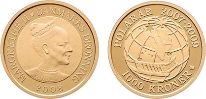 1000 Kronen 2008, Internationales Polarjahr/Sirius, Gold 900er, 8,65 g, Ø 22 mm