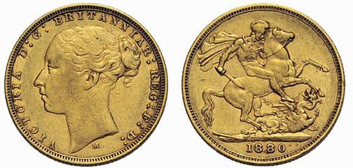 Britisches Weltreich (Australien), Königin Victoria, reg. 1837–1901, Sovereign (Gold), Melbourne 1880