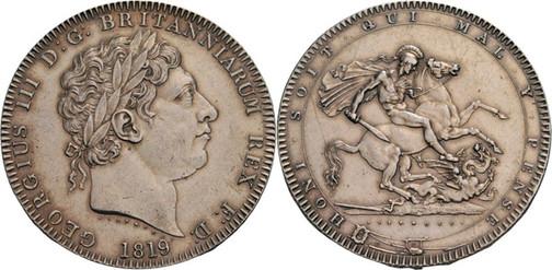 1 Crown 1819, Kursmünze, Silber 925 fein, 28,24 g, Ø 37 mm