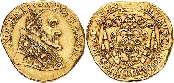 Nr. 7119: KIRCHENSTAAT. Innozenz X. (1644–1655). Quadrupla 1647, Avignon. Äußerst selten. Gutes sehr schön. Taxe: 10 000,– Euro