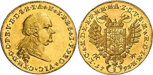 Nr. 7793: BAYERN. Karl Theodor (1777–1799). 3 Dukaten 1792, München, auf das Vikariat. Sehr selten. Stempelglanz. Spezialsammlung Bayern. Taxe: 20 000,– Euro