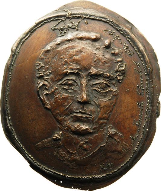 "Anna Franziska Schwarzbach, Medaille ""Marie Skłodowska-Curie"" (Rückseite mit Namenszug), 2017, Bronze, 125 x 105 mm"