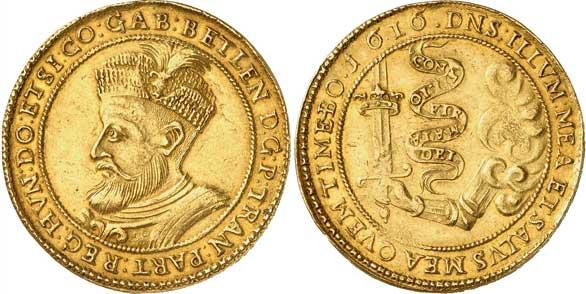 Nr. 7358: SIEBENBÜRGEN. Gabriel Bethlen (1613–1629). 10 Dukaten 1616. Sehr selten. Fast vorzüglich. Taxe: 25 000,– Euro