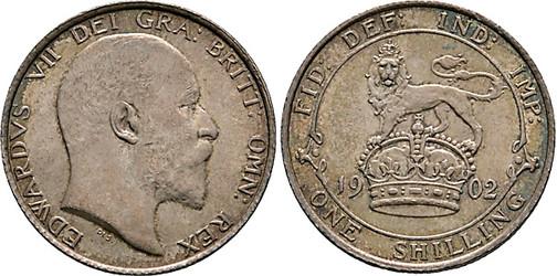 1 Shilling 1902, Kursmünze, Silber 925 fein, 5,66 g, Ø 23,59 mm