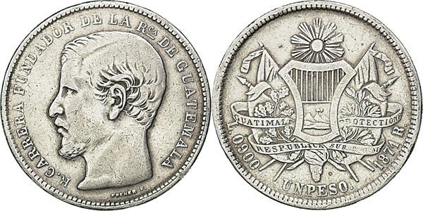 1 Peso 1871, Kursmünze, Silber 900er, 25,00 g, Ø um 37 mm
