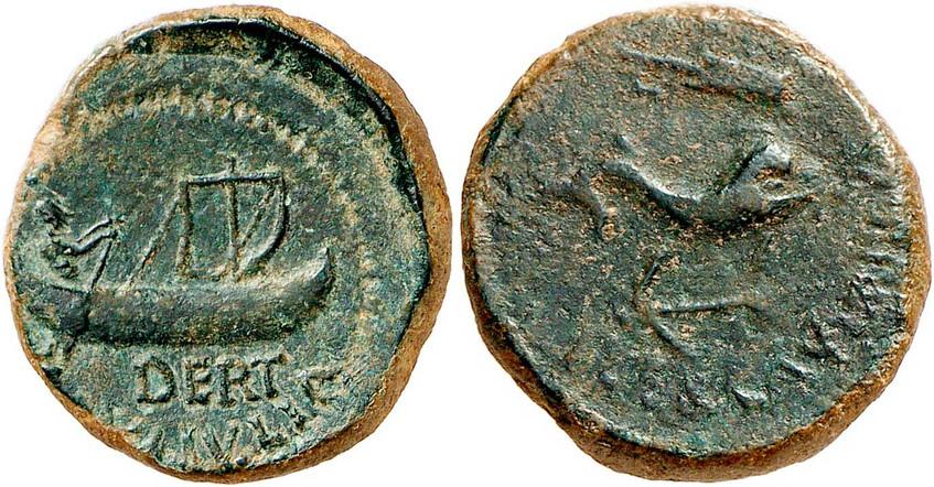 Nr. 1559: ILLERCAVONIA-DERTOSA (Tortosa/Tarragona). Semis, Zeit des Tiberius. Wohl unpublizierte Variante eines äußerst seltenen Typs. Grüne Patina.  Gutes sehr schön / Sehr schön. Aus Sammlung Dr. W. R. Taxe: 1000,– Euro