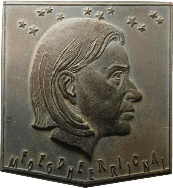 """Bernd Göbel, Plakette """"Kaiser-Otto-Preis der Stadt Magdeburg - Federica Mogherini"""", 2017, Bronze, 97 x 89 mm, Avers"""
