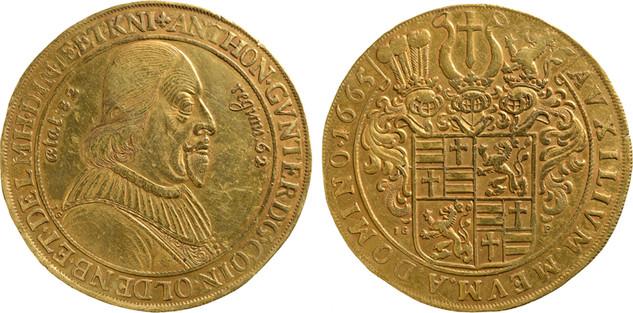 Goldabschlag im Wert von 10 Dukaten des Talers von 1665 zum 82. Geburtstag des Grafen, Landesmuseum für Kunst und Kulturgeschichte Oldenburg, Foto S. Adelaide