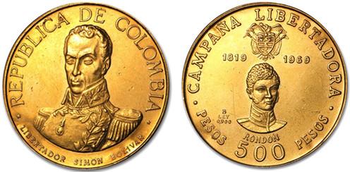 500 Pesos (1969, Kolumbien, Gold). Bildquelle: Apmex