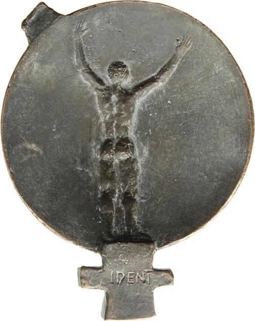 """Almuth Lohmann-Zell, Medaille """"Trans-Woman"""", 2017, Bronze, 85 x 67 x 16 mm, Revers"""