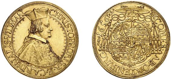 Nr. 6419: ORTENBURG. Christoph Widmann, Kardinal (1640–1660). 5 Dukaten 1656, St. Veit. Sehr selten. Vorzüglich.  Taxe: 20 000,– Euro