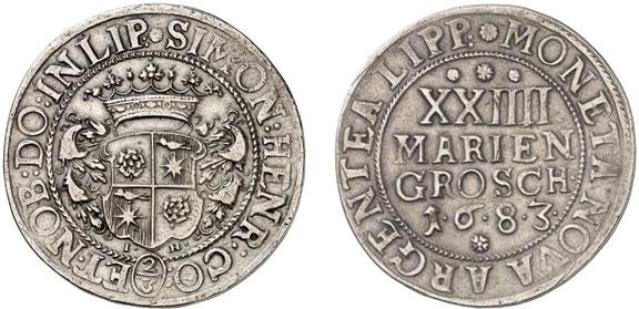 Nr. 4160: LIPPE. Simon Heinrich (1666–1697). 24 Mariengroschen (2/3 Taler) 1683 (geprägt 1683/84), Detmold. Sehr selten. Sehr schön. Taxe: 5000,– Euro