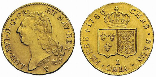 Königreich Frankreich, König Ludwig XVI., reg. 1774–1793, Doppelter Louis d´or (Gold), Limoges 1786