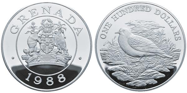 100 Dollars 1988, Grenada, Vogelwelt der Karibik, Silber 925er, 129,6 g, Ø 63,00 mm