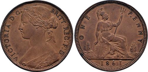 1 Penny 1861, Kursmünze, Bronze, 9,30 g, Ø 31 mm