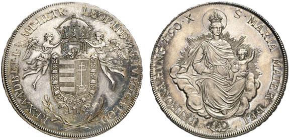 Nr. 1351: HAUS HABSBURG. Leopold II. (1790–1792). Konventionstaler 1790 Wien, für Ungarn. Königstaler. Äußerst selten in dieser Erhaltung. Stempelglanz Taxe: 15 000,– Euro