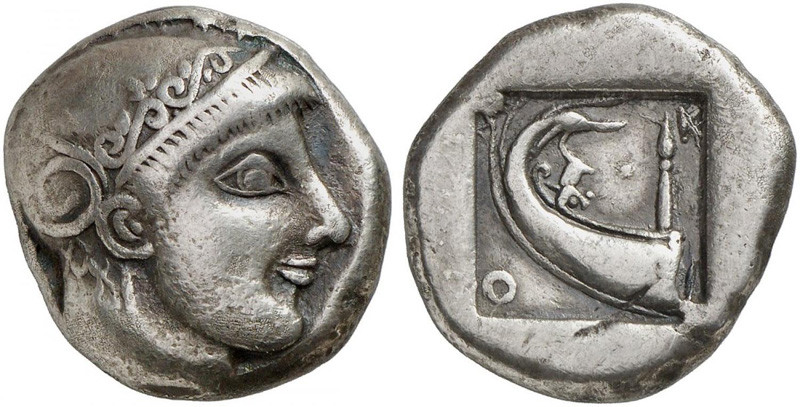Skione: Tetradrachmon (um 480–470 v. Chr.), Silber, 16,46 g, Höhe der Vs. 23,5 mm [Quelle: Künker, Auktion 304 (19. März 2018), Los Nr. 261]