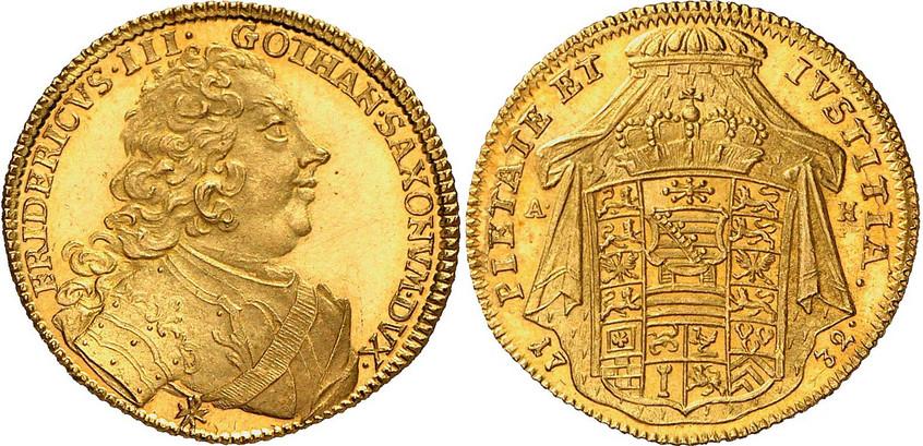 Nr. 8255: SACHSEN-GOTHA. Friedrich III. (1732–1772). Dukat 1732, Gotha, auf die Verleihung des polnischen Ordens des Weißen Adlers. Äußerst selten. Stempelglanz. Taxe: 20 000,– Euro
