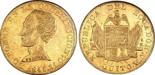 8 Escudos (1845, Ecuador, Gold). Bildquelle: Heritage Auctions