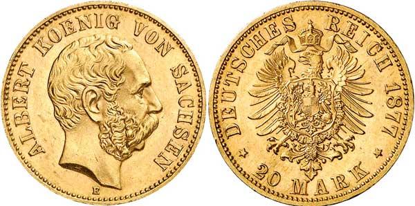 Nr. 8691: DEUTSCHES REICH. SACHSEN. Albert (1873–1902). 20 Mark 1877. Sehr seltener Jahrgang. Gutes vorzüglich.  Taxe: 30 000,– Euro