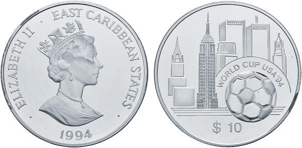 10 Dollars 1994, East Caribbean States, XV. Fußball-WM in den USA, Silber 925er, 28,28 g, Ø 38,61 mm