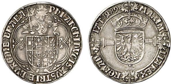 Nr. 174: BRABANT. Philipp der Schöne (1482–1506). Fünfte Emission, 1489–1492. Quadruple patard 1489, Antwerpen, mit Titel Maximilians I. Sehr selten. Sehr schön.  Taxe: 3000,– Euro
