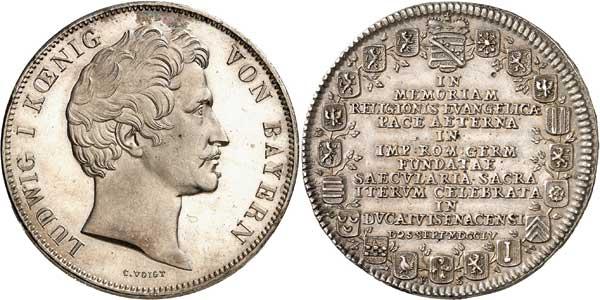 Nr. 5053: BAYERN. Ludwig I. (1825–1848). Vereinsdoppeltaler 1848 auf die Übergabe der Krone an seinen Sohn. Der seltenste bayerische Geschichtsdoppeltaler. Fast Stempelglanz. Taxe: 3000,– Euro