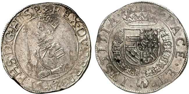 Nr. 240: BRABANT. Prägungen des Aufstands gegen die spanische Herrschaft, 1577–1585. Ecu des Etats (Staatentaler) 1578, Maastricht. Äußerst selten. Nur wenige Exemplare bekannt. Sehr schön-vorzüglich.  Taxe: 2500,– Euro