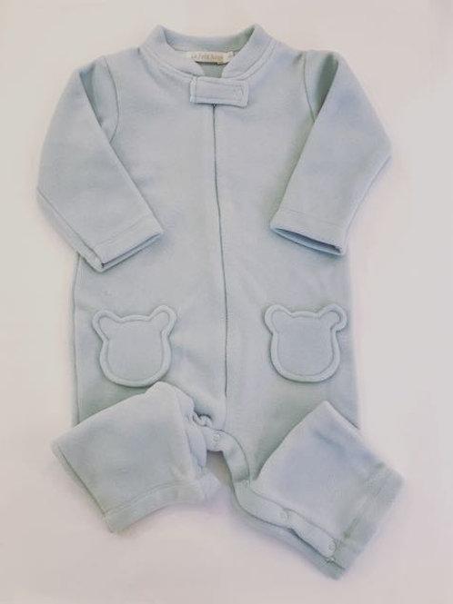 Macacão soft azul urso sem pé.