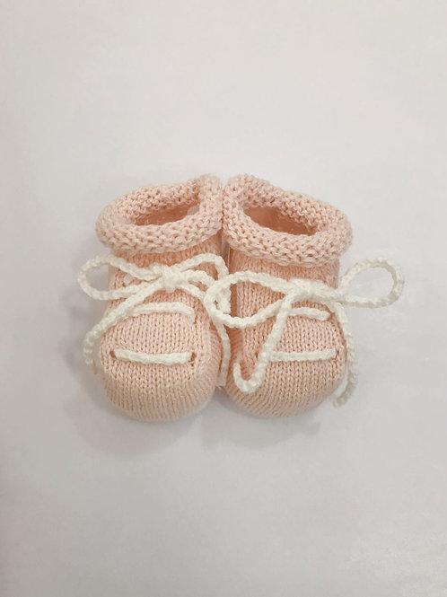Sapato tricot rosa e branco