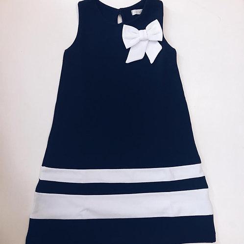 Vestido Náutico marinho laço