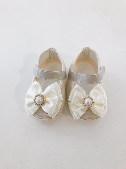 Sapato laço strass e pérola off white