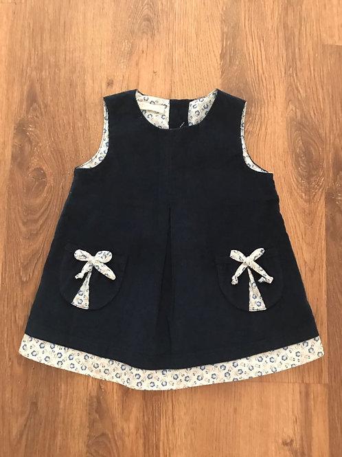 Vestido Jumper veludo cotelê marinho