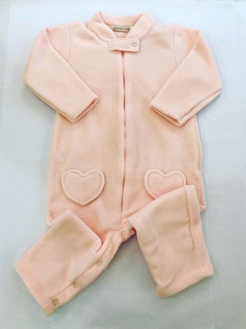 Macacão soft rosa coração sem pé