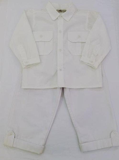 Conjunto camisa bolsos manga longa