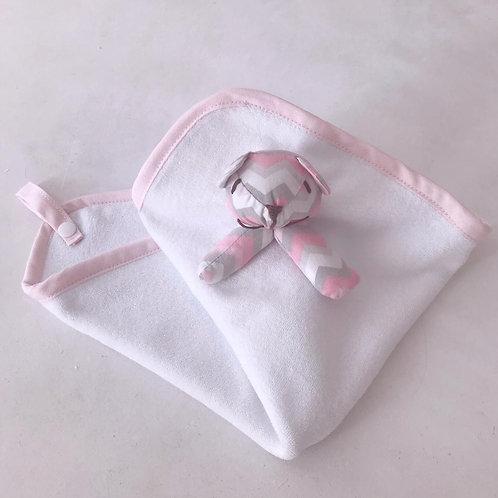 Nana teddy chevron rosa e cinza.