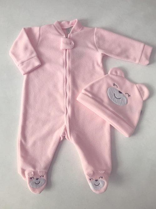 Macacão soft com touca urso rosa