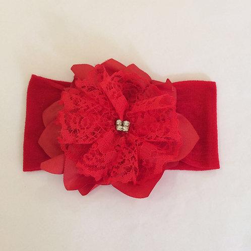 Faixa meia Flor renda vermelha