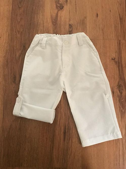 Calça tricoline vira bermuda branca