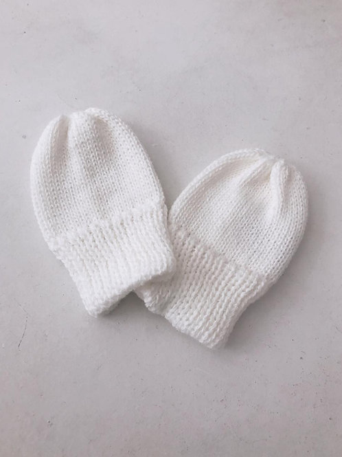 Luva tricot baby marfim.