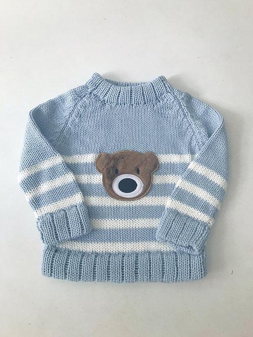 Malha urso listrada azul bebê
