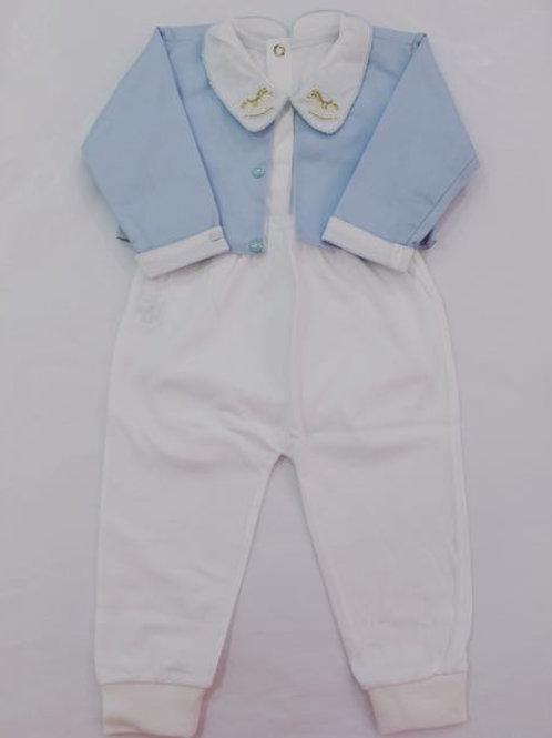 Conjunto baby azul e branco cavalinho