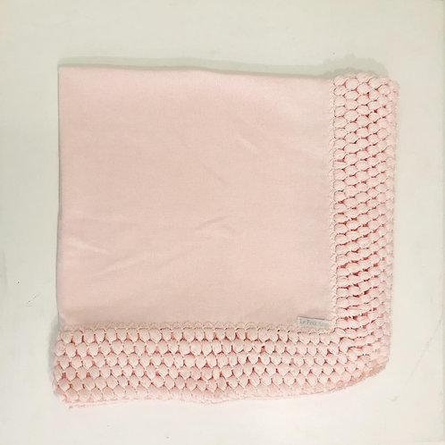 Manta lisa crochê rosa bebê