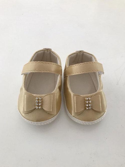 Sapato laço strass dourado light